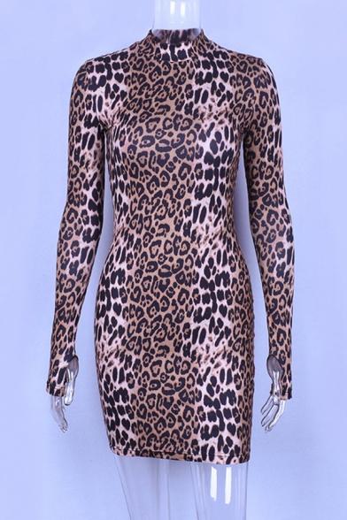 Womens Chic Leopard Print Gloves Long Sleeve Round Neck Mini Bodycon Dress
