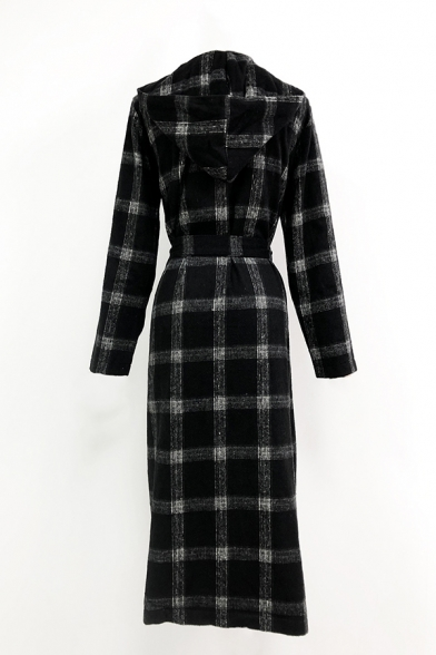 Womens Fashionable Plaid Bow Tied Waist Long Sleeve Casual Longline Woolen Overcoat