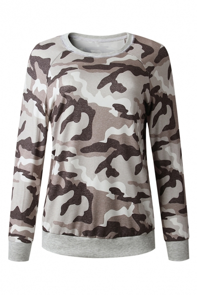 Womens Simple Camouflage Pattern Long Sleeve Round Neck Casual Sweatshirt