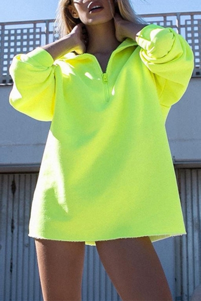 Womens Stylish Plain Fluorescent Yellow Half Zip Long Sleeve Oversized Pullover Sweatshirt, LM566465