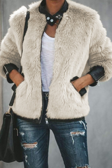 Womens Warm Snap Button Stand Collar Long Sleeve Flap Pocket PU Leather Patch Trim Zip Up Apricot Faux Fur Jacket Coat