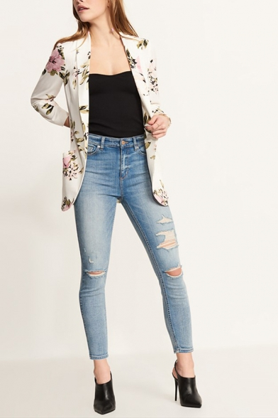 Chic Floral Print Long Sleeve Shawl Collar White Open Front Casual Blazer Coat