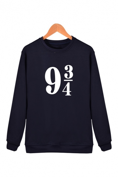 Fancy Number Printed Crewneck Long Sleeve Unisex Pullover Sweatshirt