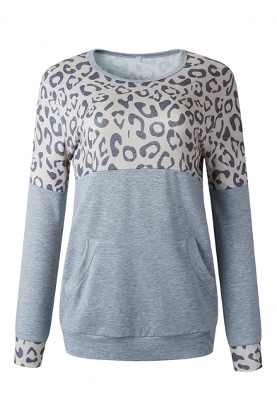 Fashionable Leopard Patch Long Sleeve Casual Colorblock Pullover Sweatshirt in Loose Fit