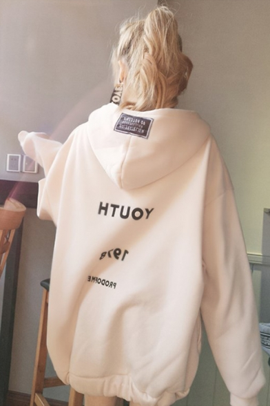 Harajuku Style Simple Letter Printed Back Long Sleeve Full Zip Baggy Thick Hoodie Coat