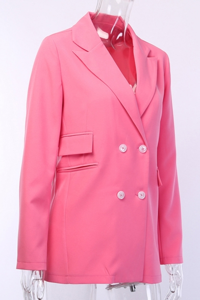Ladies Active Pink Notched Lapel Long Sleeve Double Breasted Longline Loose Blazer Coat with Pocket