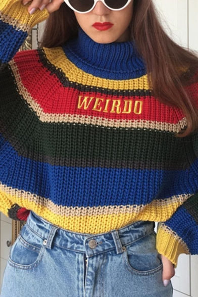 Ladies Warm WEIRDO Letter Embroidery Colorful Stripes Turtleneck Long Sleeve Loose Chunky Sweater