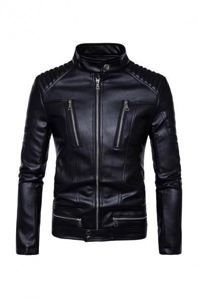 Mens Fashion Black Pleated Detail Long Sleeve Zipper Embellished PU Leather Zip Up Slim Fit Motor Jacket