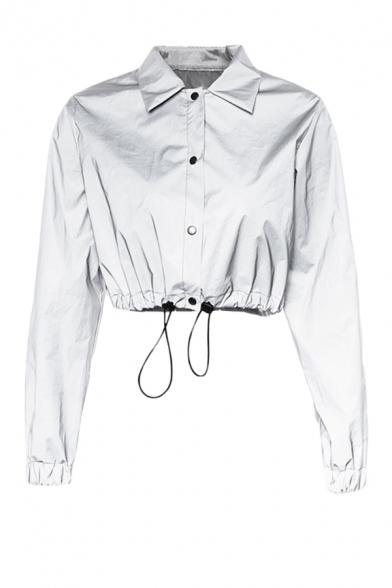 Plain Reflective Long Sleeve Single Breasted Drawstring Hem Cropped Windbreaker Jacket Coat