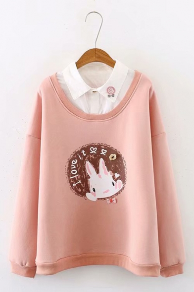 Preppy Chic Cute Rabbit Printed Long Sleeve Oversized Casual Fake Two Piece Sweatshirt
