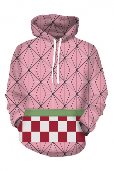 Unisex 3D Print Pink Plaid Patchwork Pouch Pocket Long Sleeve Drawstring Cosplay Hoodie