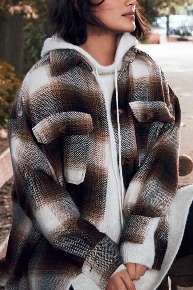 Winter Stylish Plaid Long Sleeve Single Breasted Curved Hem Loose Woolen Shirt Jacket Coat with Flap Pocket