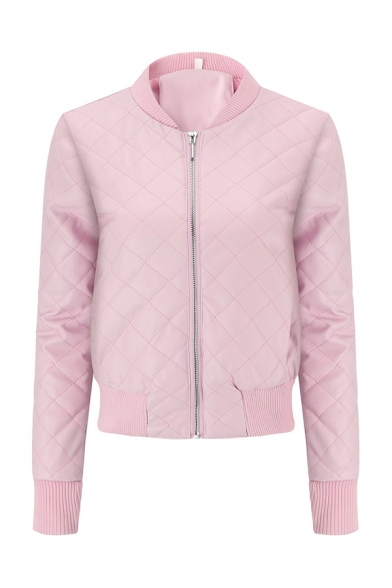 Women's Plain Long Sleeve Zip Up Slim Fit PU Quilted Baseball Jacket Coat