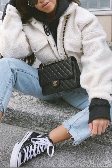 Womens Casual White Lapel Collar Flap Pocket Single Breasted Sherpa Fleece Short Jacket Coat