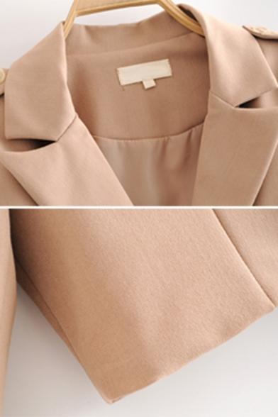 Womens Fashion Khaki Solid Epaulets Embellished Long Sleeve Notch Lapel Single Button Cropped Blazer Jacket
