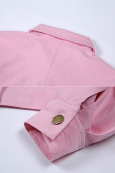 Girls Casual Long Sleeve Metal Button Fly Flap Pocket Solid Pink Crop Jacket Coat