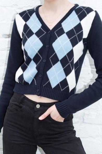 Ladies Stylish Colorblock Argyle Long Sleeve Button Front Short Slim Fit Cardigan Coat