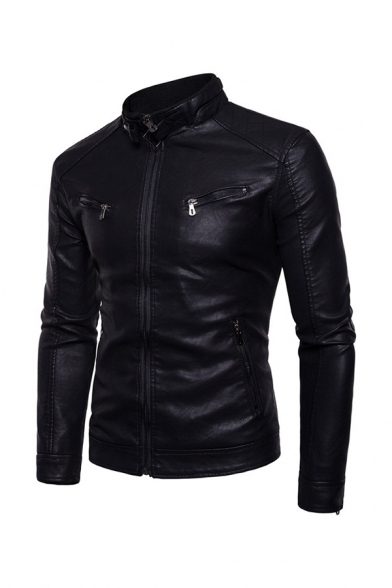 Mens Fashionable Buckled Stand Collar Long Sleeve Zipper Embellished Slim Fit PU Leather Biker Jacket