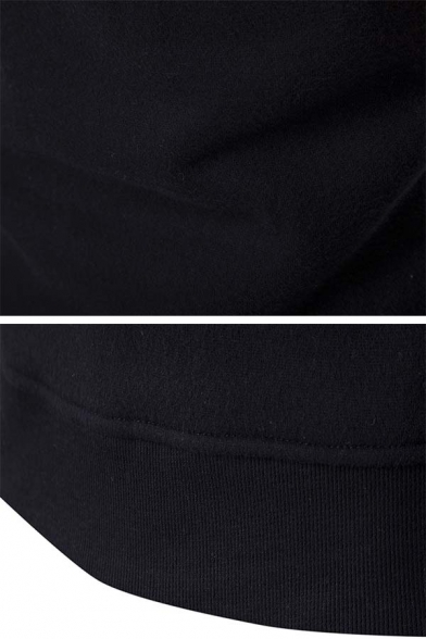 Mens Fashionable Color Block Long Sleeve Black Fitted Fleece Pullover Sweatshirt