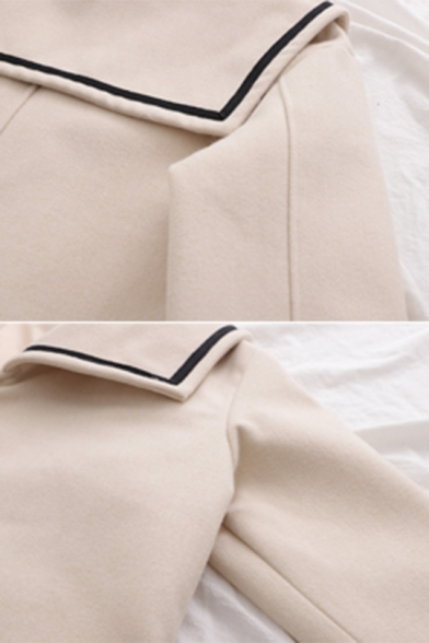 New Arrival Plain Sailor Collar Long Sleeve Double Breasted Tunic Woolen Coat with Big Pocket