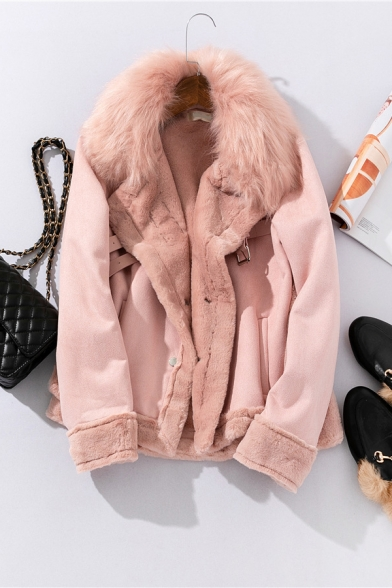 Winter Warm Fur Collar Long Sleeve PU Buckle Strap Detail Side Split High Low Suede Casual Jacket