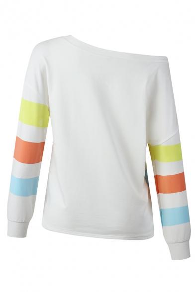 Womens Casual Colorblock Striped Printed One Shoulder Long Sleeve Loose Fit Sweatshirt Top