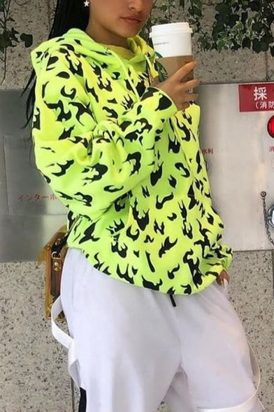 Womens Chic Allover Flame Pattern Long Sleeve Longline Drawstring Hoodie with Pocket
