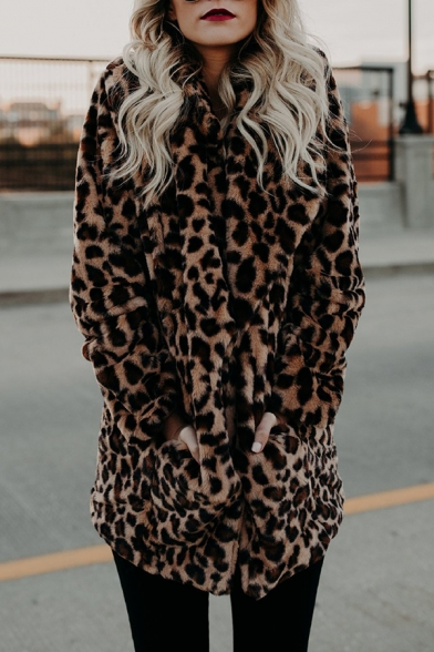 Womens Chic Leopard Print Open Front Long Sleeve Faux Fur Longline Coat with Pocket