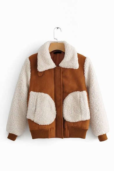 Womens Chic Sherpa Patch Pocket Color Block Lapel Collar Hidden Zip Placket Brown Long Sleeve Warm Thick Coat