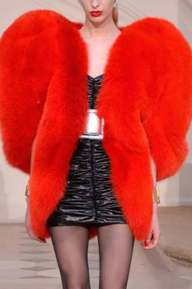 Womens Exclusive Red Peach Heart Shaped Faux Fox Fur Jacket Cloak Coat