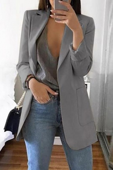Womens Lapel Collar Long Sleeve Open Front Solid Color Longline Casual Blazer Coat