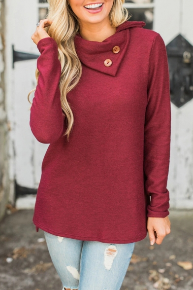 Womens Stylish Button Embellished Foldover Neck Long Sleeve Side Split High Low Casual Pullover Sweatshirt