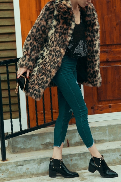 Womens Warm Leopard Print Lapel Collar Long Sleeve Longline Brown Faux Fur Thick Coat