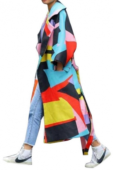 Colorful Geometric Printed Notched Collar Long Sleeve Flap Pocket Longline Wool Coat with Belt