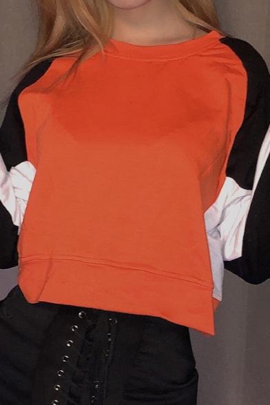 Fall Stylish Color Block Long Sleeve Round Neck Orange Crop Pullover Sweatshirt