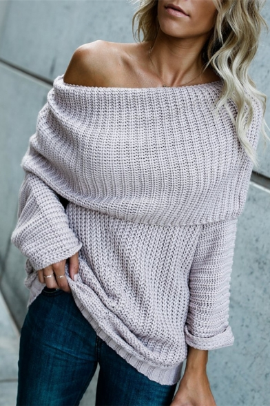 Ladies Sexy Plain Long Sleeve Foldover Off the Shoulder Oversized Longline Knitwear Sweater, Light purple;light apricot, LM568885