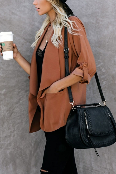 Ladies Stylish Roll Tab Sleeve Waterfall Open Front Loose Fit Solid Color Trench Coat