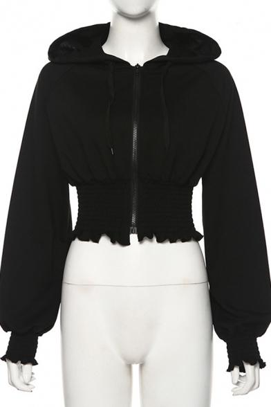 Lady Fashion Black Long Sleeve Stringy Selvedge Trim Zip Up Slim Fit Crop Jacket Coat