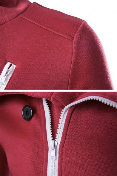 Mens Red Fashionable Contrast Trim Button Decoration Oblique Zip Long Sleeve Slim Fit Sweatshirt