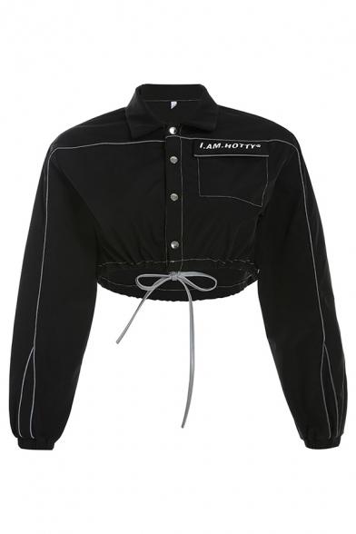 Reflective Stripe Letter I AM HOTTY Print Long Sleeve Single Breasted Drawstring Hem Black Denim Crop Jacket