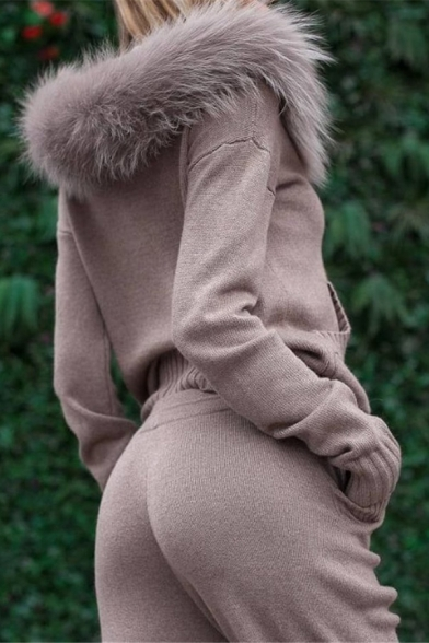Womens Active Fur Trimmed Hood Zip Up Coat with Drawstring Waist Pants Plain Knitted Two Piece Sport Suit