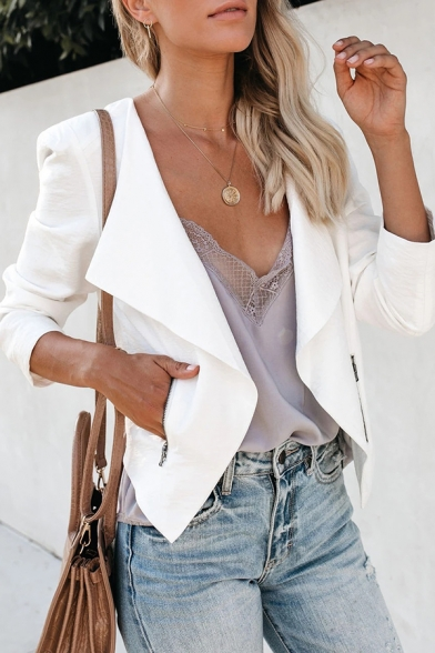 Womens Casual Long Sleeve Zipper Pocket Open Front Short Solid Color Office Blazer