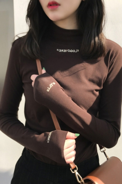 Womens Fashionable Embroidered Letter Mock Neck Long Sleeve Slim Fit T-Shirt Top