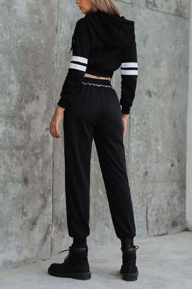 Womens Leisure Double Stripes Long Sleeve Black Zipper Slim Pullover Hoodie