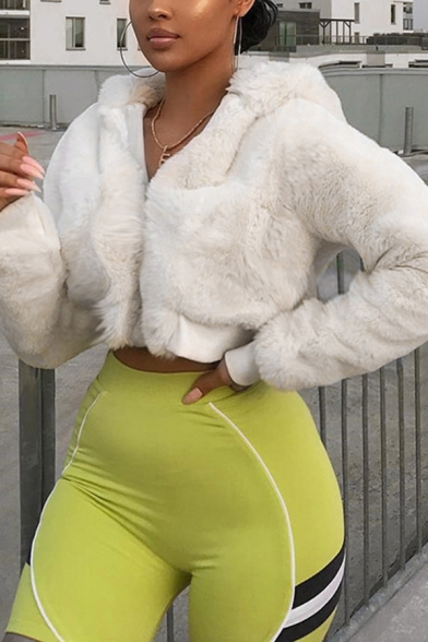 Womens Leisure Plain White Faux Fur Long Sleeve Zip Up Cropped Jacket Coat with Hood