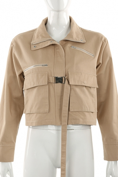 Womens Leisure Stand Collar Long Sleeve Flap Pocket Push Buckle Tied Khaki Short Cargo Jacket