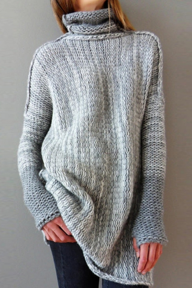 Womens Outdoor Fashionable Colorblock Turtle Neck Long Sleeve Boucle Knit Tunic Jumper Sweater, Dark gray;light gray;coffee, LM568995