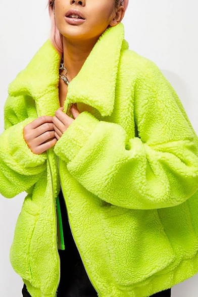 Chic Fluorescent Green Solid Color Long Sleeve Big Pocket Zip Up Lamb Wool Overcoat Jacket