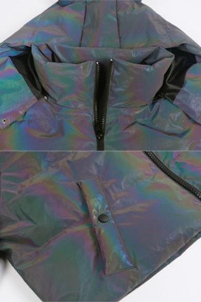 Hot Popular Laser Rainbow Long Sleeve Zip Up Demon Horn Hooded Crop Puffer Jacket Coat