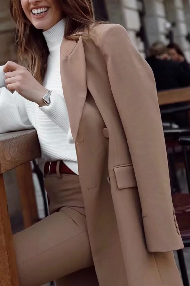 Khaki Simple Peak Collar Long Sleeve Double Breasted Belted Longline Blazer Coat with Pocket